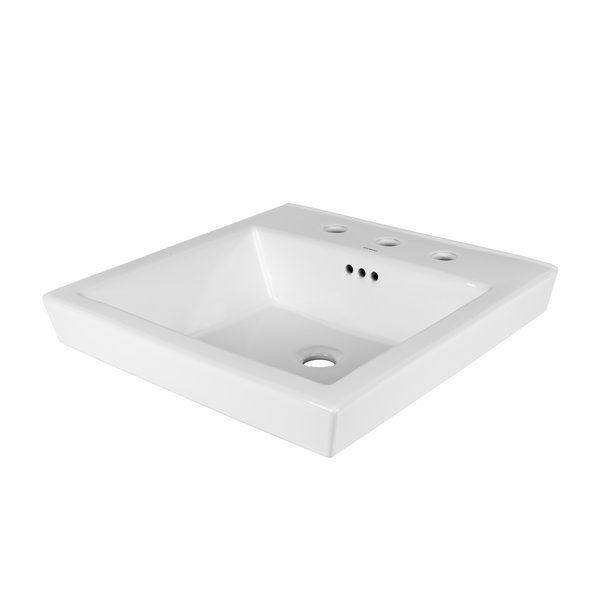 Tapered Ceramic Rectangular Vessel Bathroom Sink With Overflow