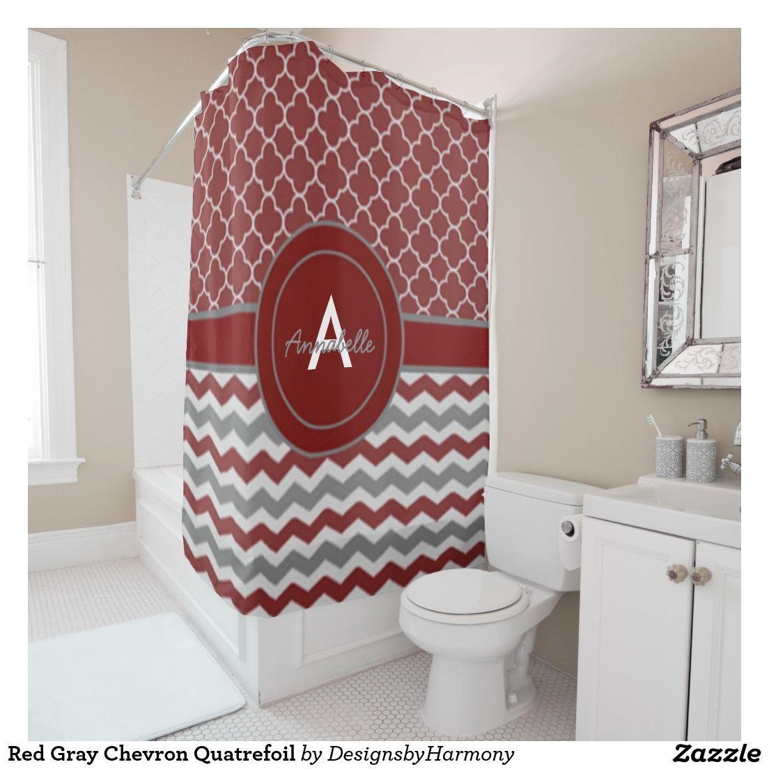 Red Gray Chevron Quatrefoil Shower Curtain