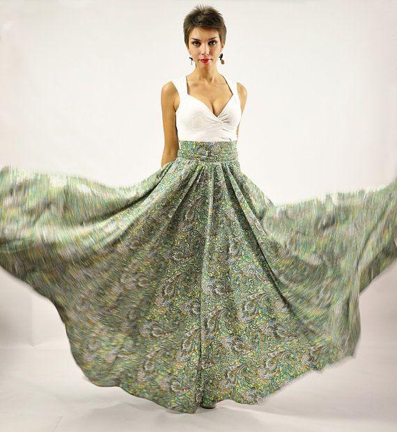 Maxi Skirt - Long Skirt, Floor length skirt, Floral skirt, Flower ...