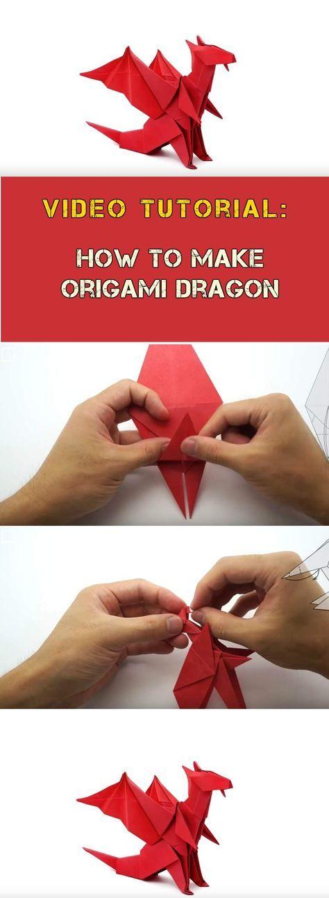 como fazer origami vermelho vídeo tutorial dragão