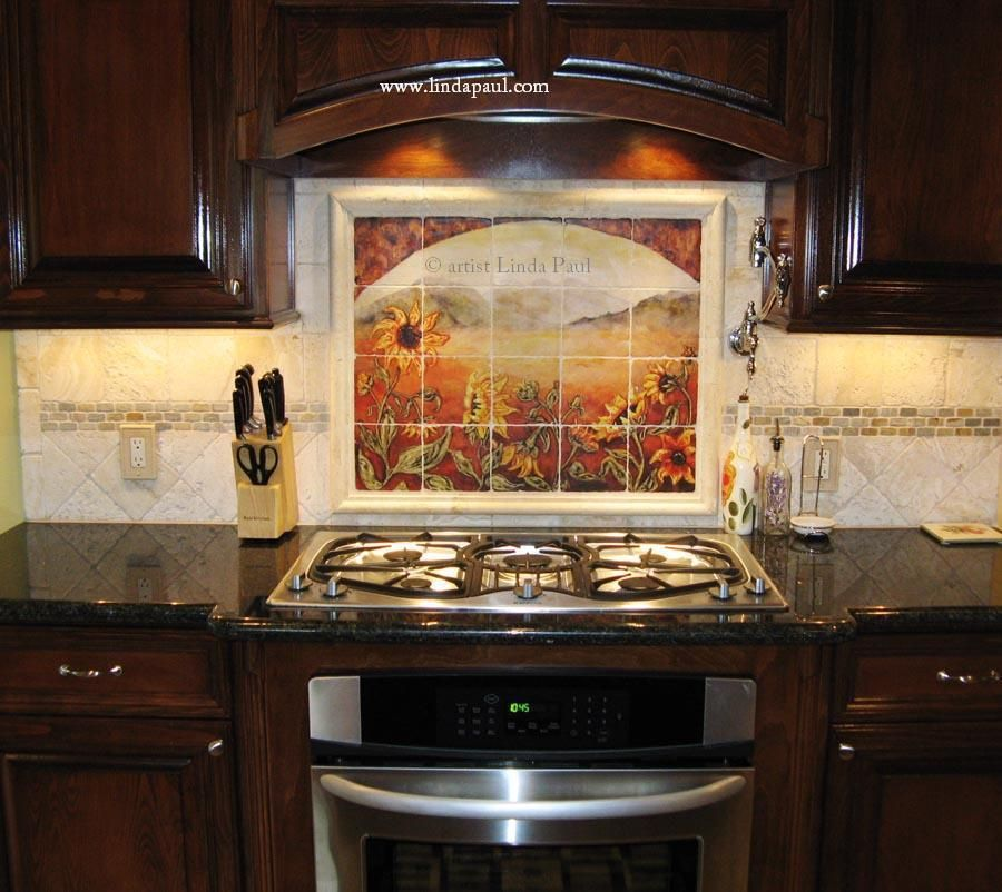 Mural Tiles For Kitchen Decor Sunflower Kitchen Decor Tile Murals Western Backsplash From