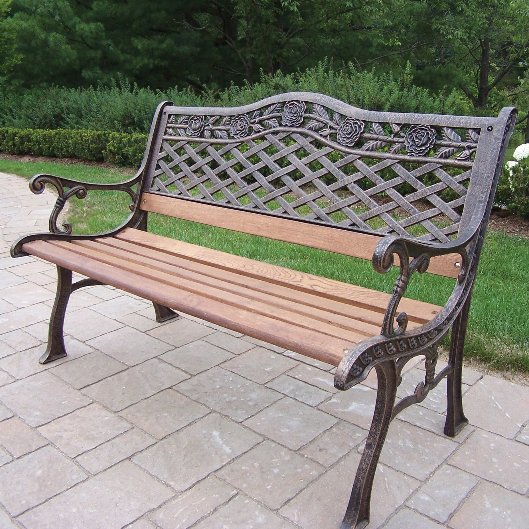 Tea Rose Wood And Cast Iron Park Bench Oakland Living Outdoor Bench