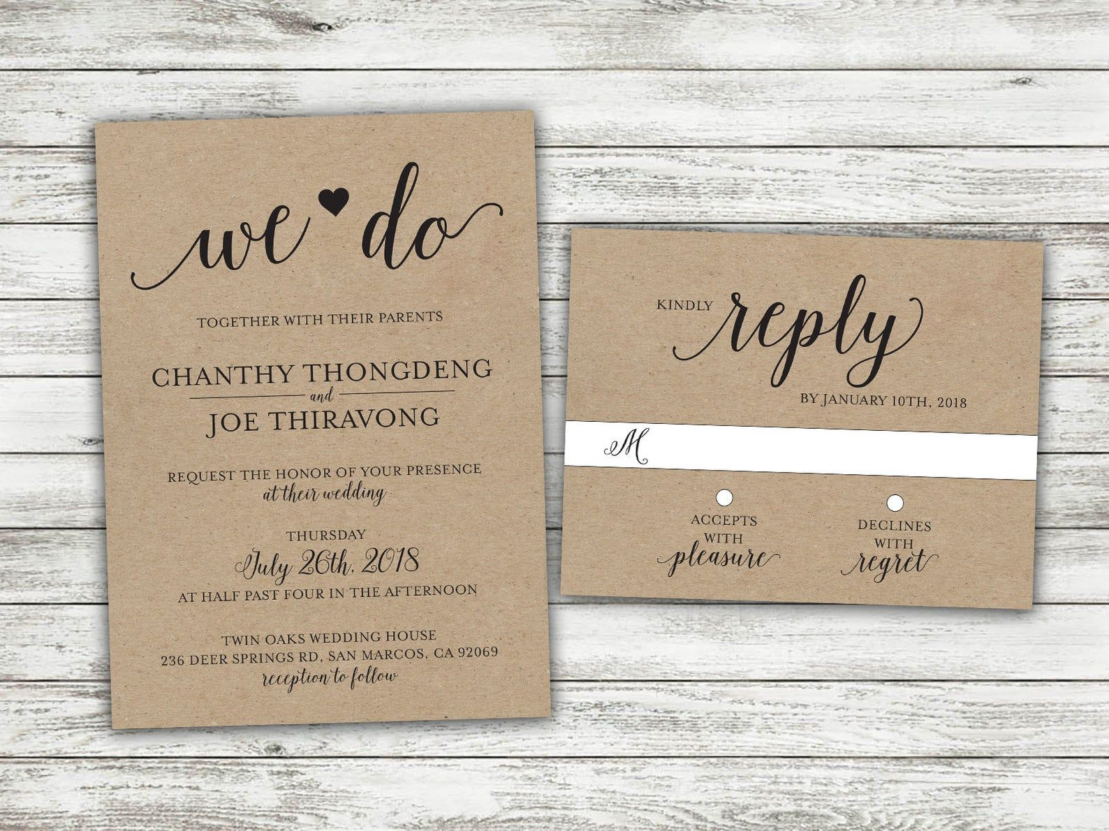 We Do Country Wedding Invitations Set Printed, Rustic