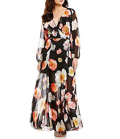 3e1bacbed7a GB Floral Surplice VNeck LongSleeve Ruffle Wrap Maxi Dress  Dillards ...