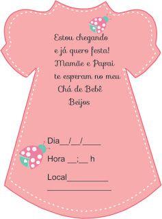 Convite Vestidinho Para Chá De Bebê Them Pinterest Baby Baby