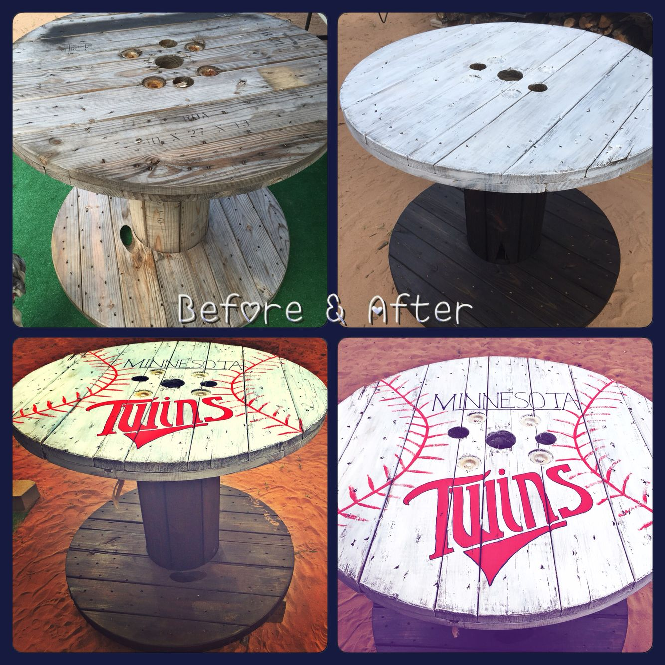 utility spool baseball table diy projects baseball table diy rh pinterest com