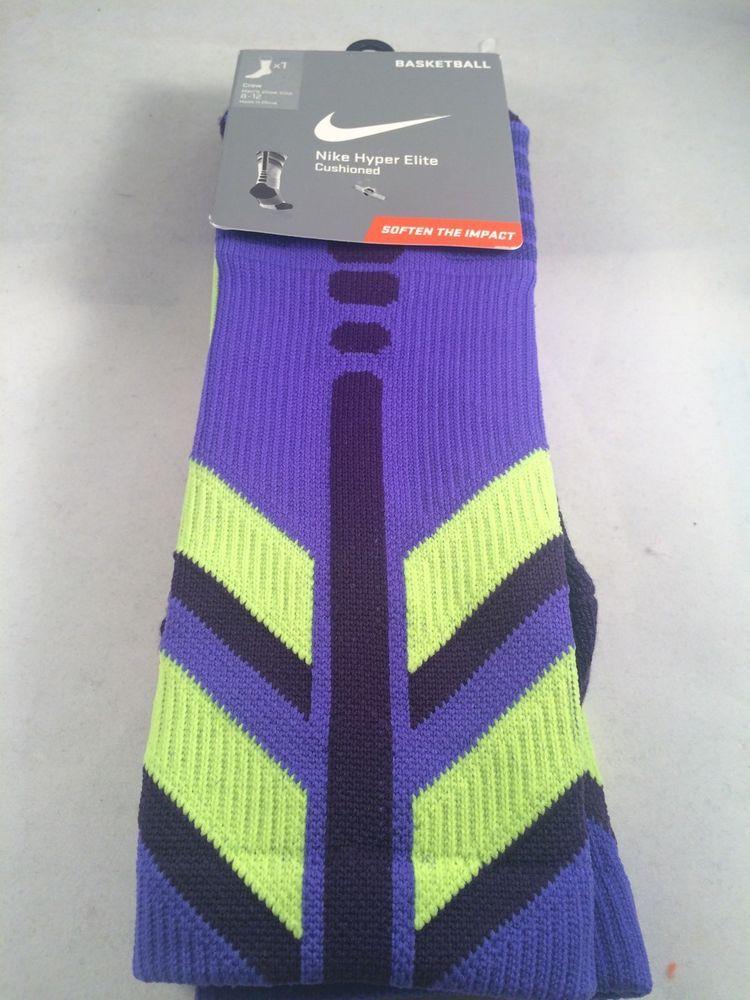 b2591a040e46 New Nike Hyper Elite Purple Basketball Crew Mens Socks Shoe Size 8-12 Gift  L  Nike  Athletic