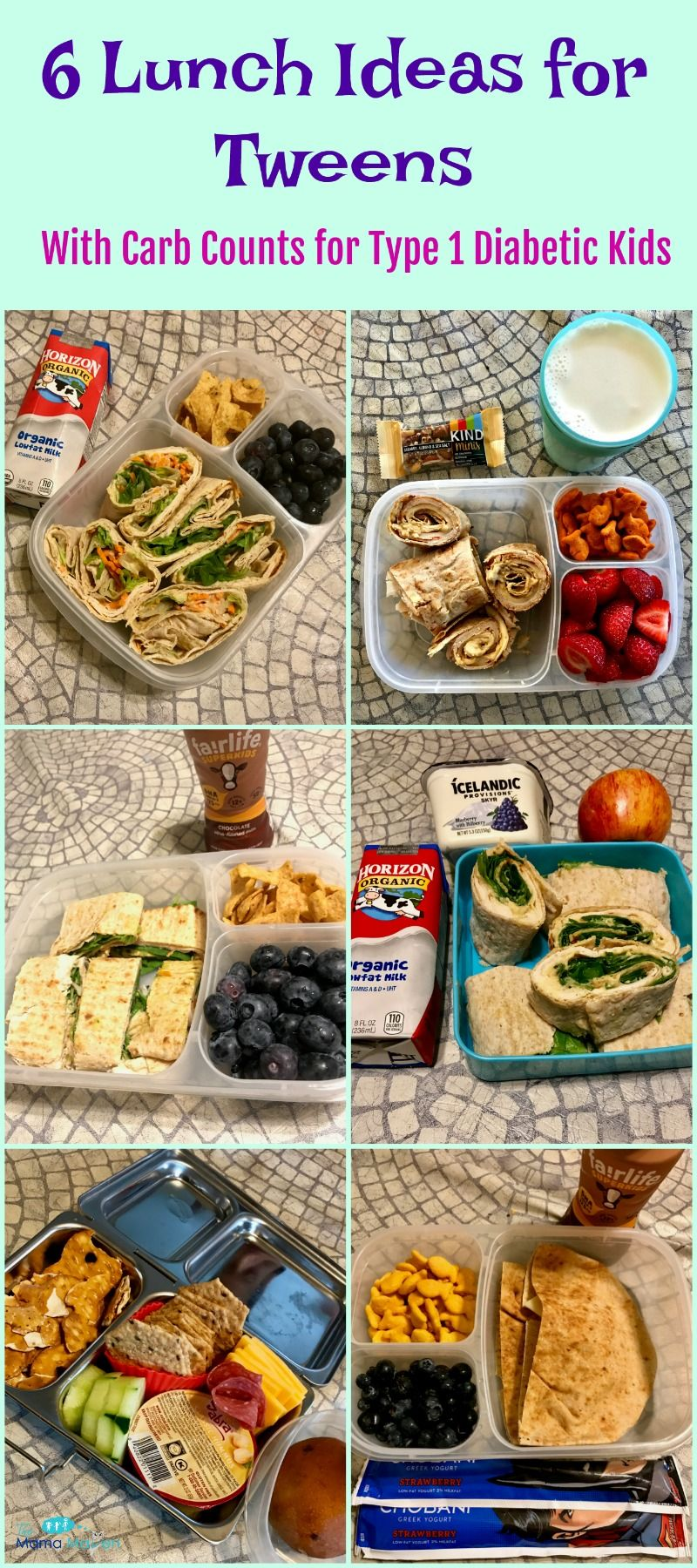 6 lunch ideas for tweens - with carb counts for type 1 diabetic kids