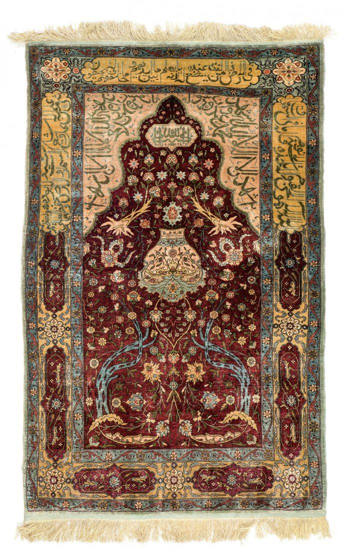 Hereke Silk Prayer Rug Turkey Circa 1950 3 Ft 10in X 2ft 5in
