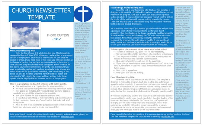 Church Newsletter Template, Free For Word  Newsletter Templates Free For Word