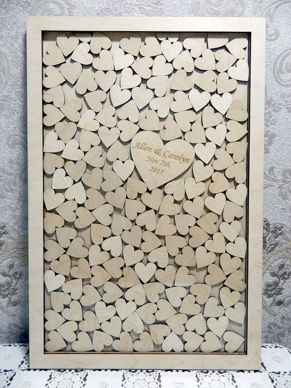 Large DROP BOX style wedding guest book,Guest book of the wood, alternative books wishes with hearts. This remarkable book wishes to leave