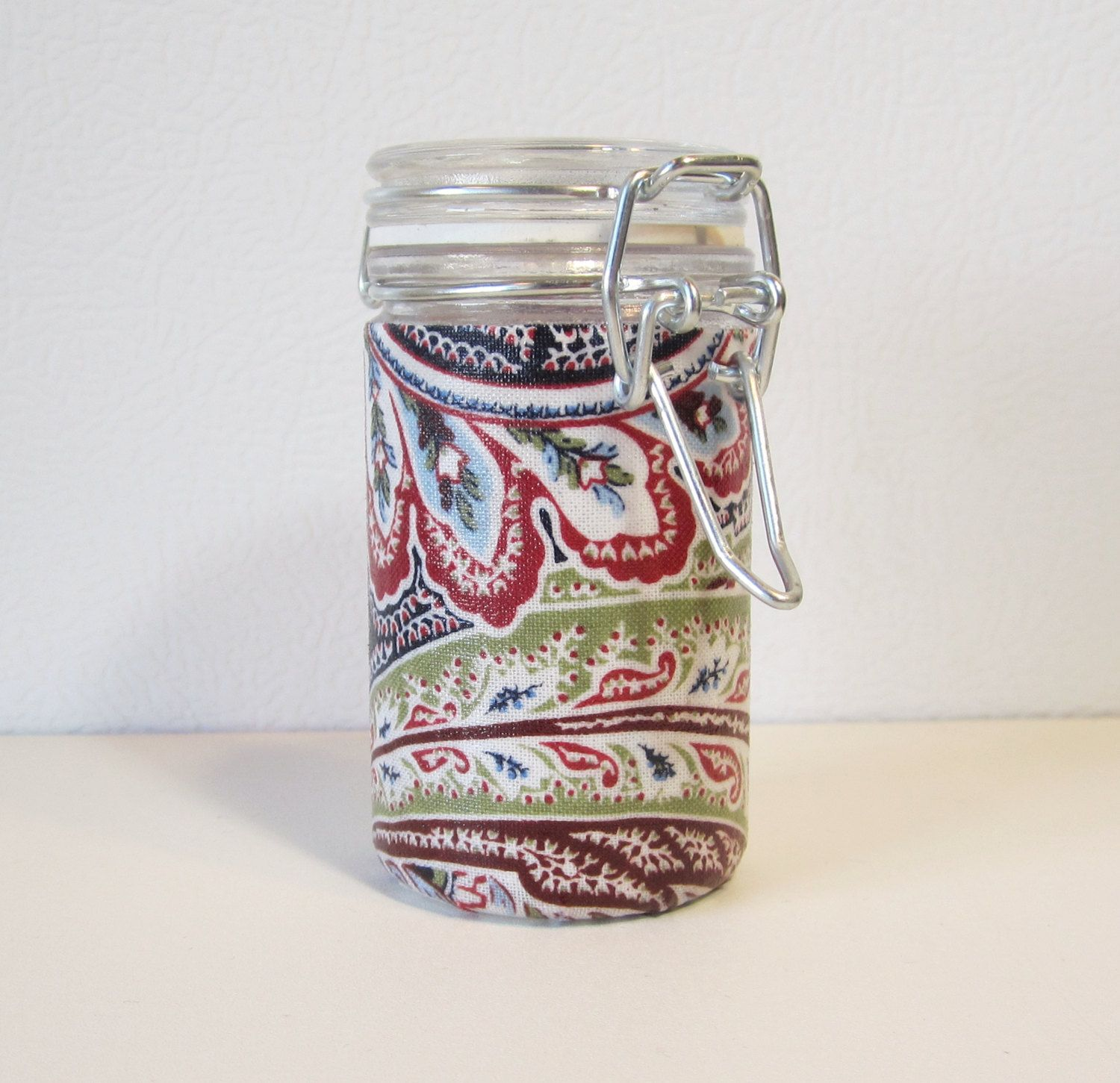 Small Glass Stash Jar : Latch-Top Jar - Country Kitchen Paisley by TheScarletPanda on Etsy