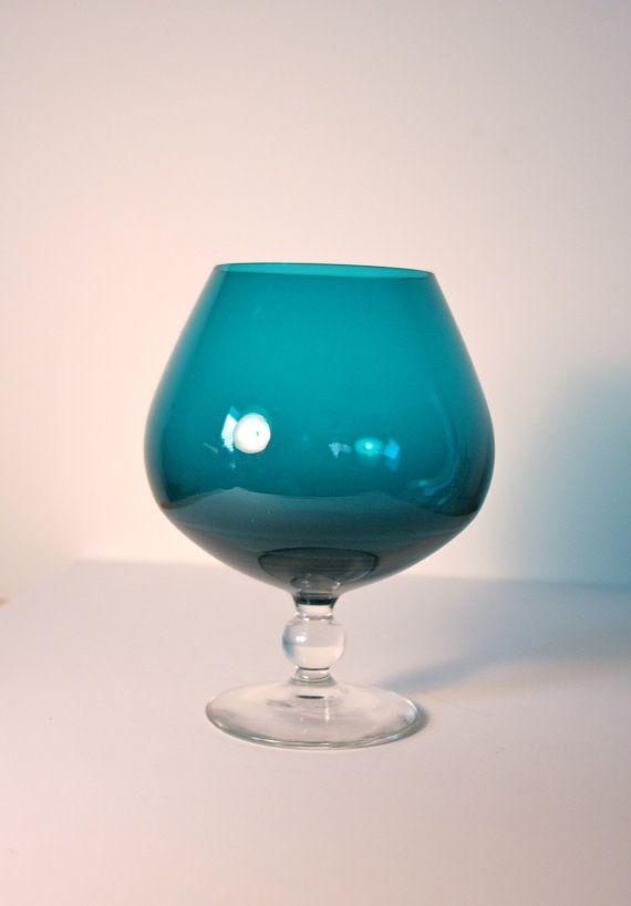 1960s Gorgeous Teal Art Glass Brandy Snifter Vase By Studiosisu