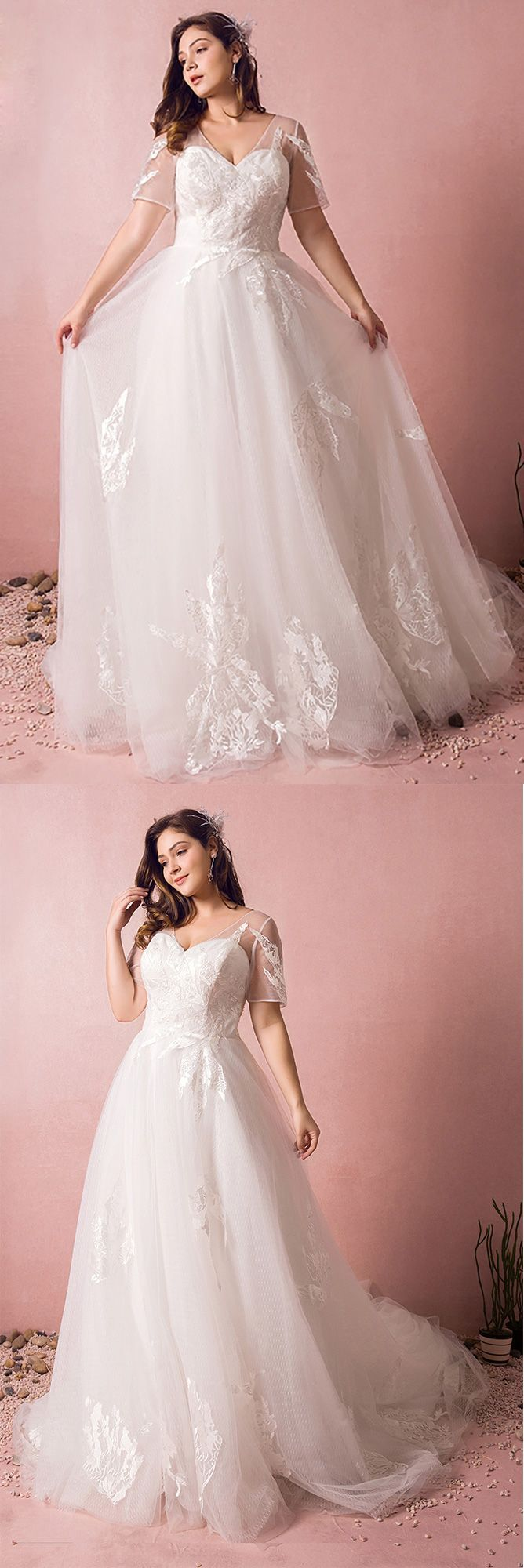 Plus size boho beach wedding dress flowy lace with sleeves cheap