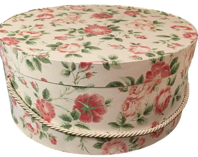 Extra Large Hat Box In Cream With Pink Roses Ready To Ship Round Box French Cottage Decor Box W Lid Keepsak French Cottage Decor Decorative Boxes Hat Boxes