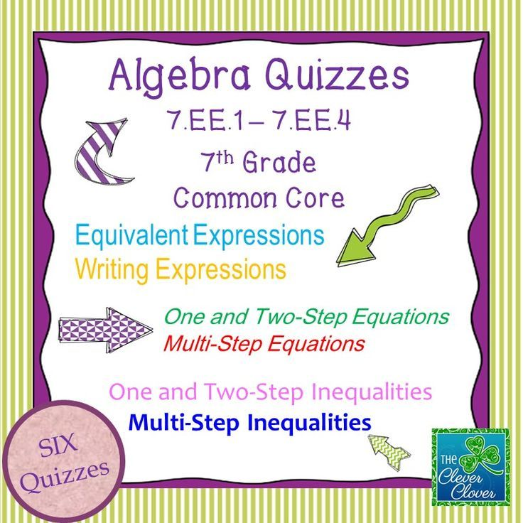 This product includes six quizzes which can be used with the Common Core Standards 7.EE.1 – 7.EE.4.