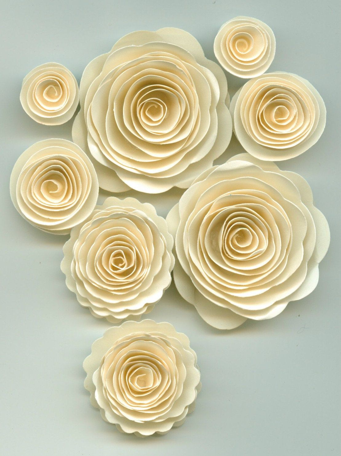 Sand Ivory Rose Spiral Paper Flowers For Weddings Bouquets Events