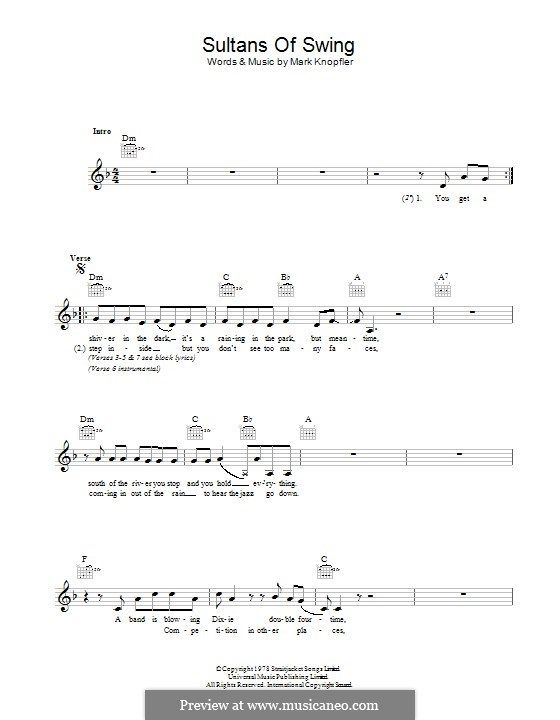 Sultans of Swing (Dire Straits): Lyrics and chords by Mark Knopfler ...