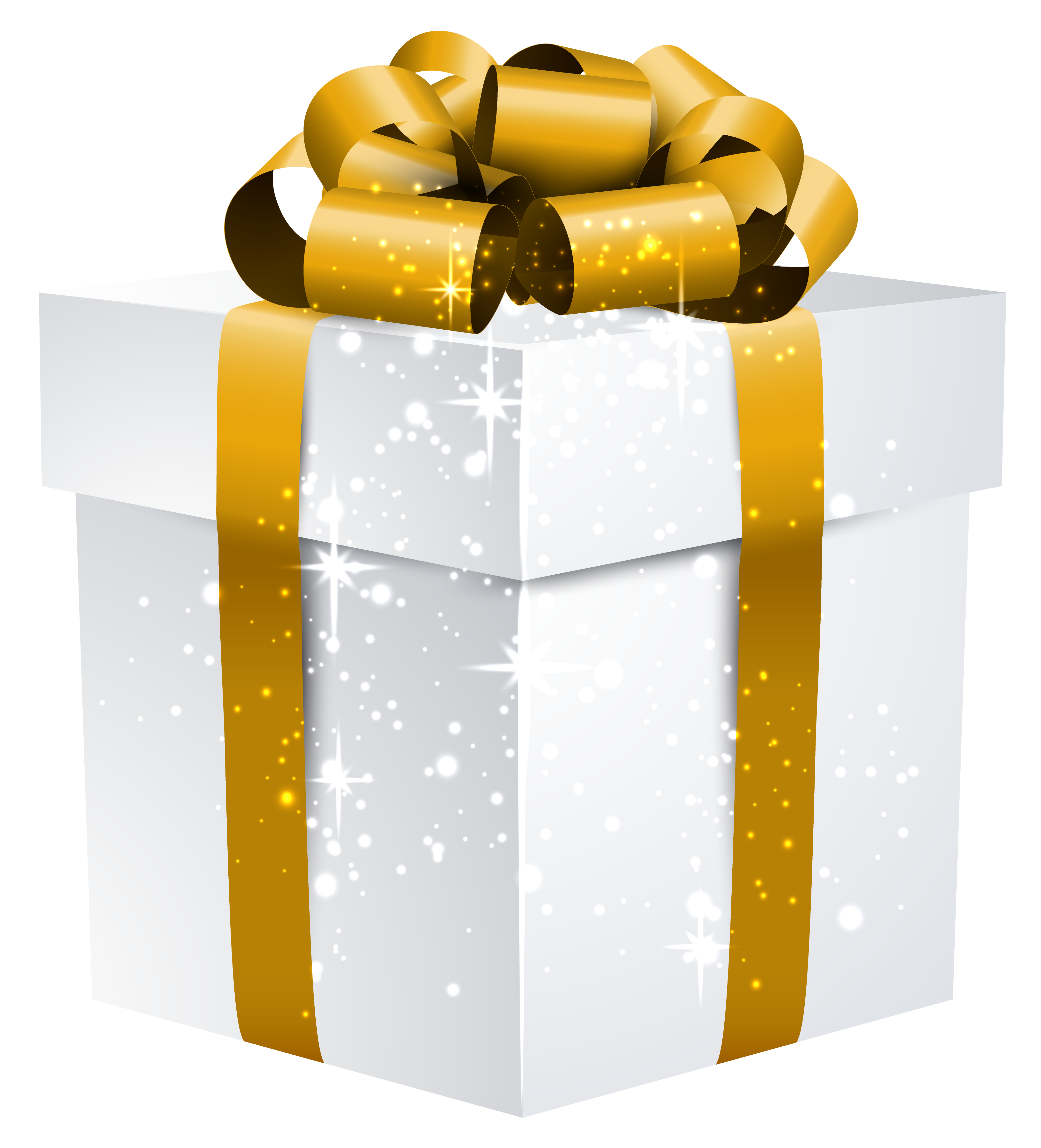 White Shining Gift Box with Gold Bow PNG Clipart Image