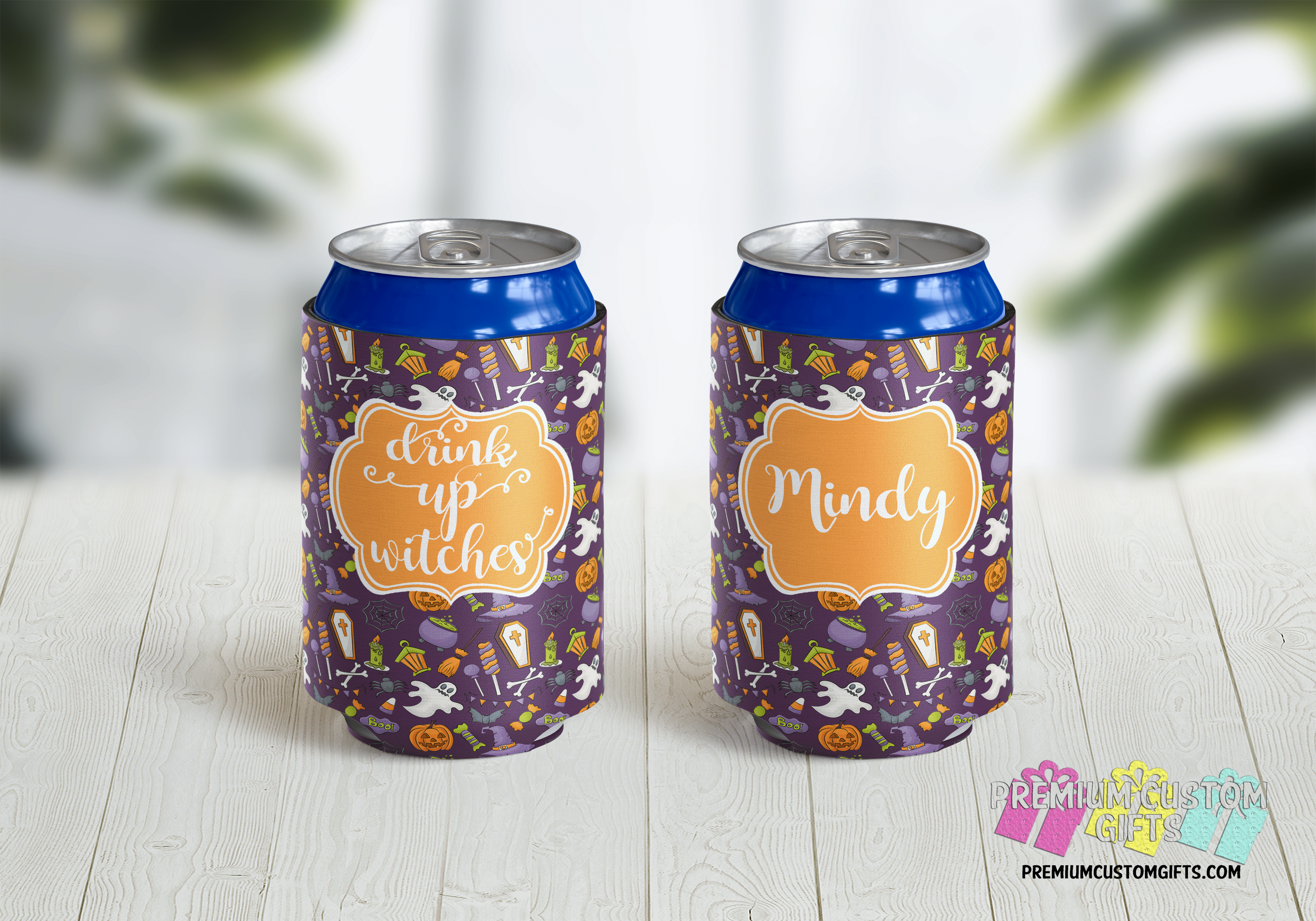 Drink Up Witches Koozies Dress Up Your Party Drinks With Personalized Koozies Personalized Can C Halloween Cans Halloween Party Favors Personalized Halloween