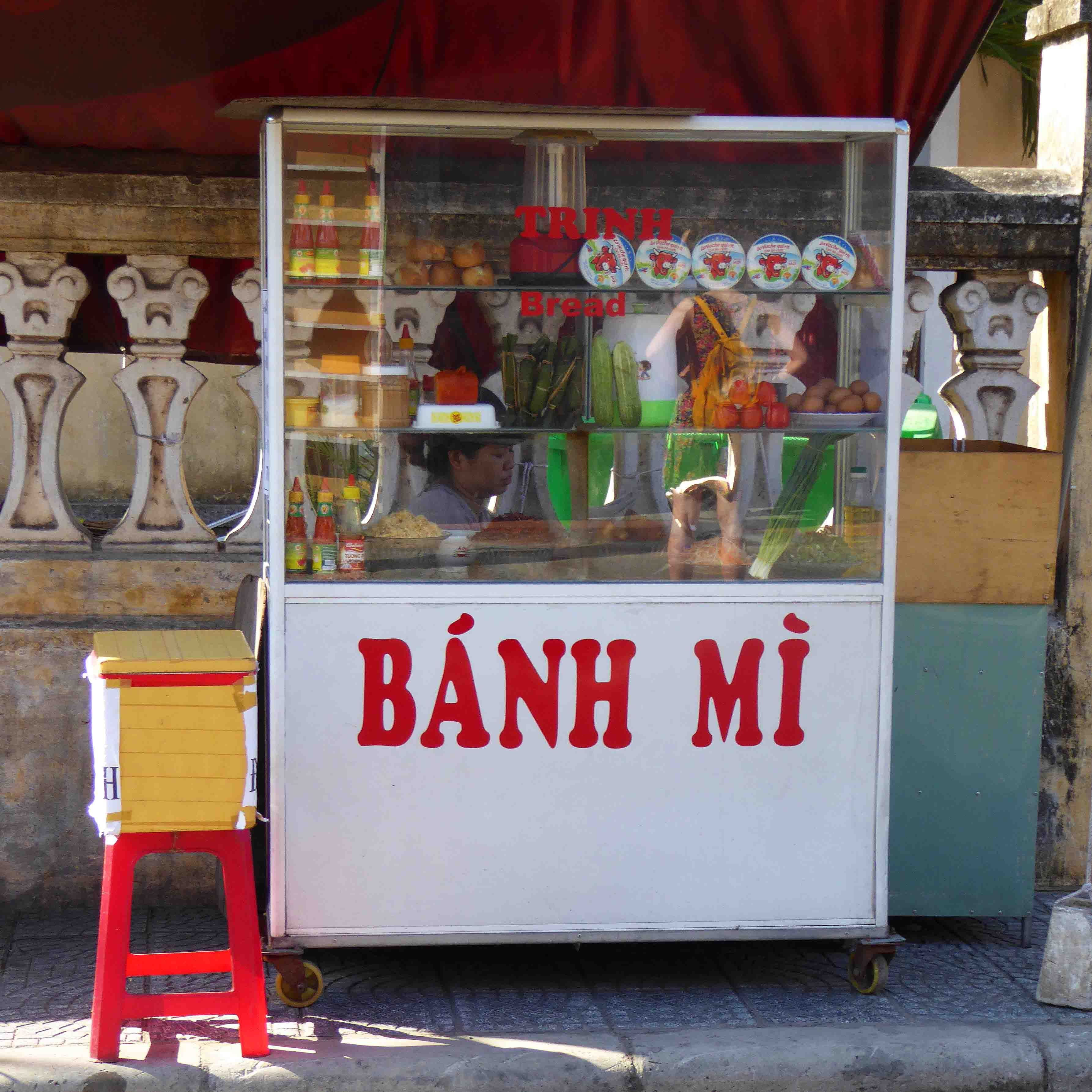 Food Exhibition Stall : Banh mi street food stall in hoi an vietnam dvc