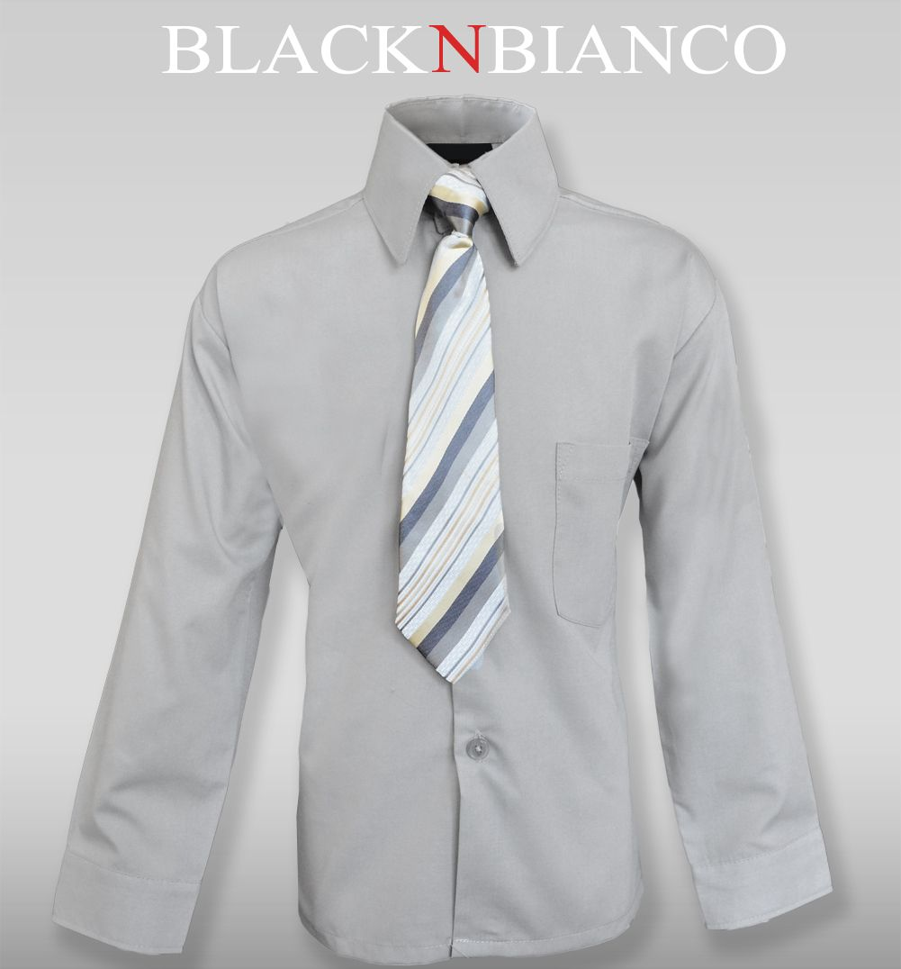 855e4bf5afe0 Boys Gray Button Down Dress Shirt with Tie By Black n Bianco