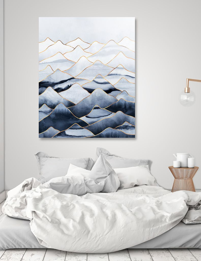 Wall Art Of Abstract Mountains With Gold Lines And Shades Of Blue. Peaceful  And Quiet