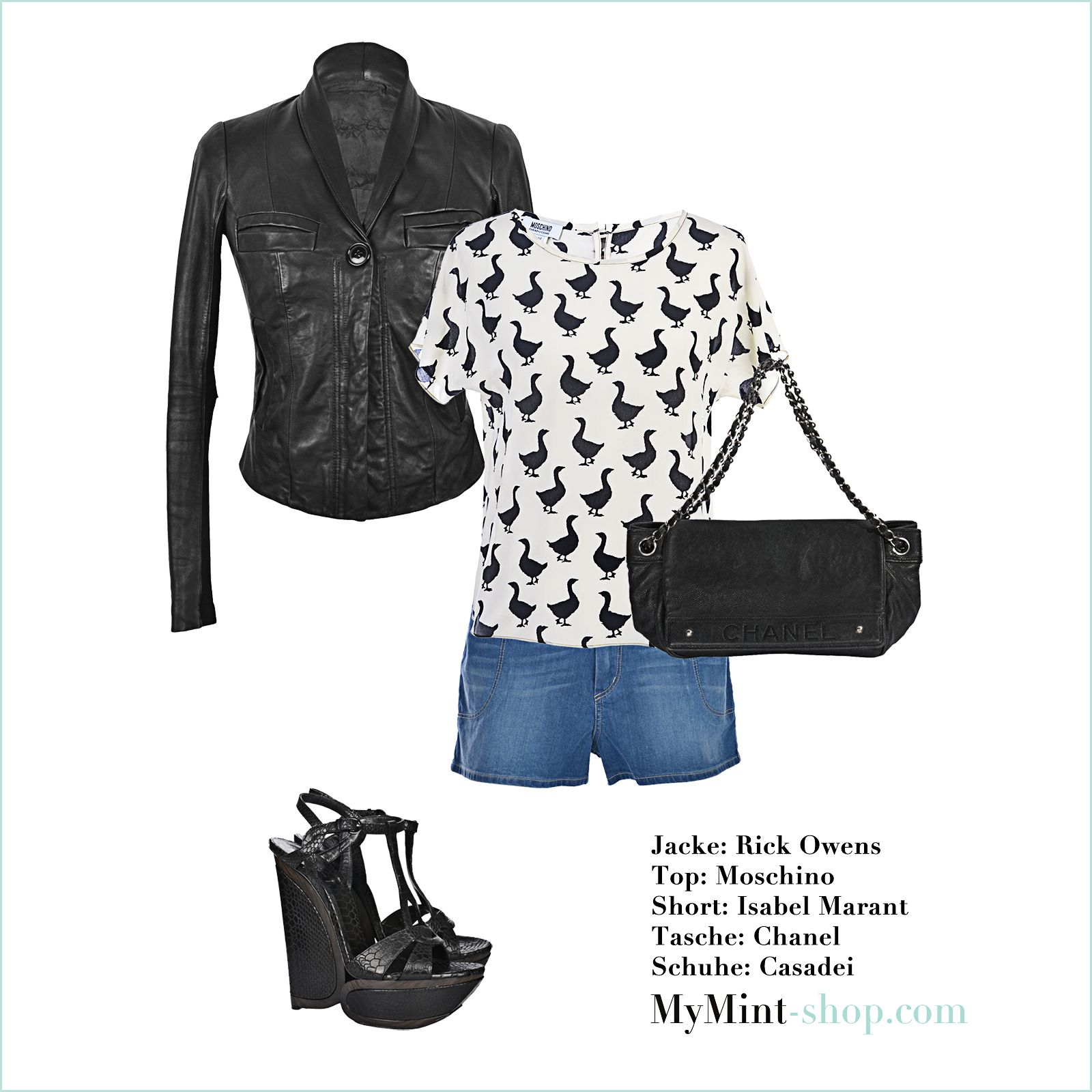 Jacke: #RickOwens Bluse: #Moschino Tasche: #Chanel Jeans: #IsabelMarant Schuhe: #Casadei