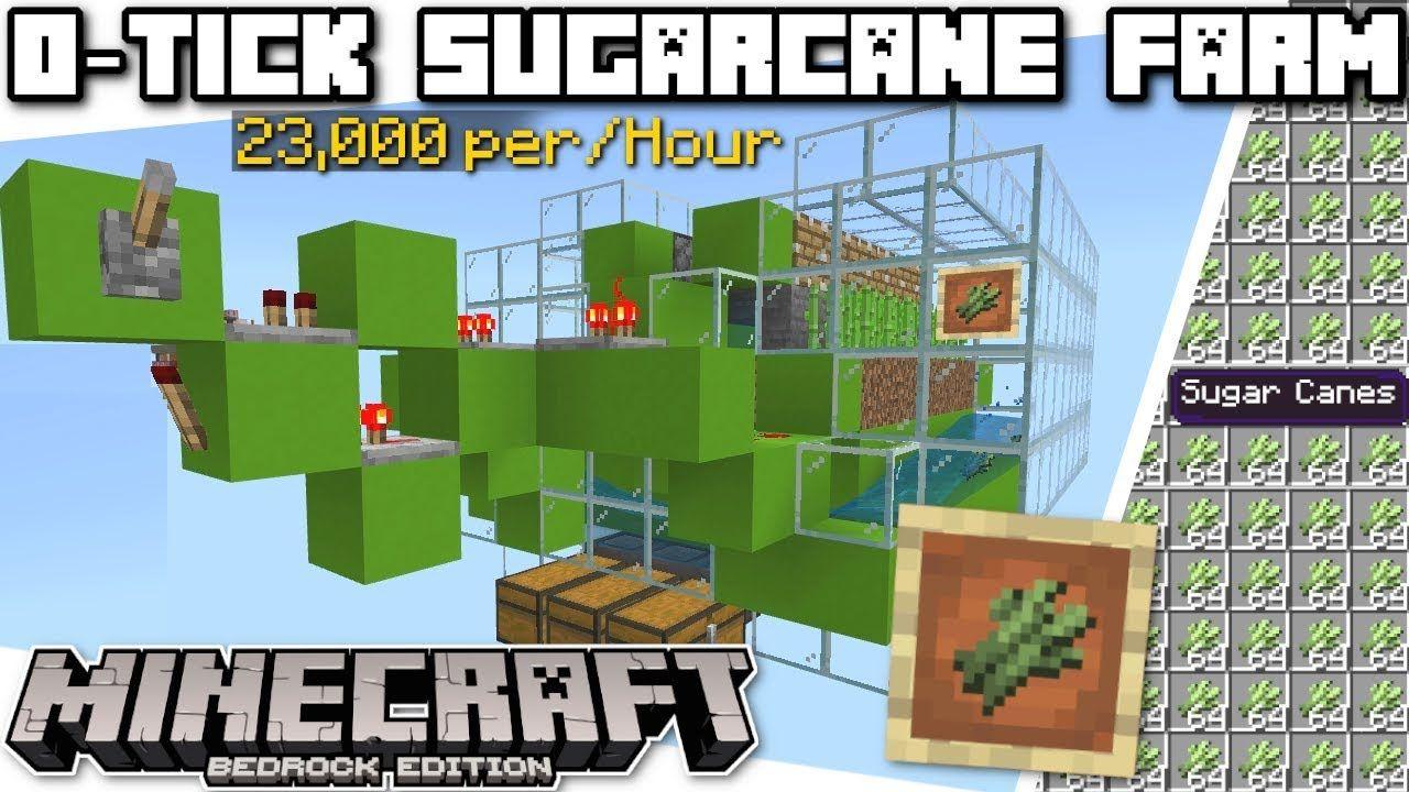 Minecraft Bedrock 0 Tick Sugarcane Farm Automatic Tutorial Ps4 Minecraft Projects Minecraft Automatic Farm Minecraft Decorations
