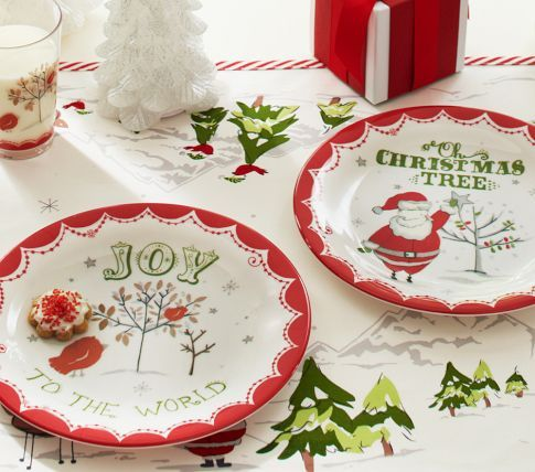 Joy \u0026 Christmas Plate Set | Pottery Barn Kids & Prepping for the season | Pottery painting ideas Christmas kitchen ...
