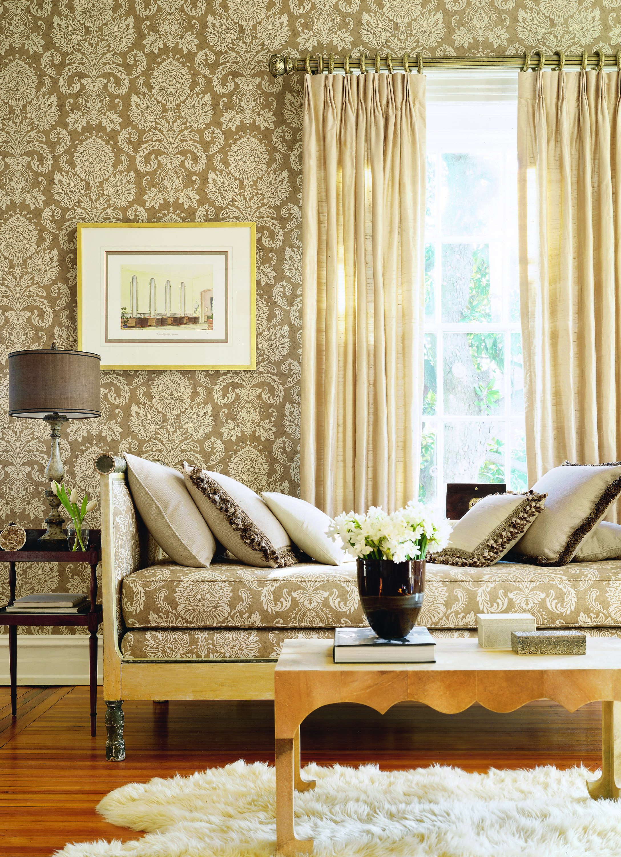 Sabeen Wallpaper And Fabric From Cypress Thibaut Damask Living Rooms Chic Room