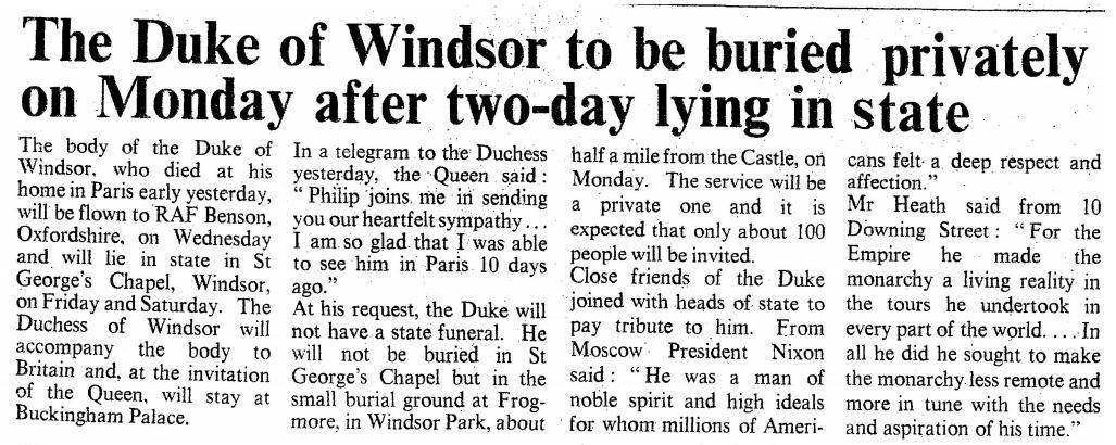 Image result for the death of the duke of windsor in 1972