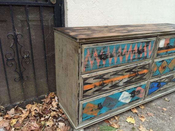 Painted Dresser Or Tv Console Aztec Pattern Bohemian Painted Furniture  Distressed Furniture Bedroom Furniture Living Room
