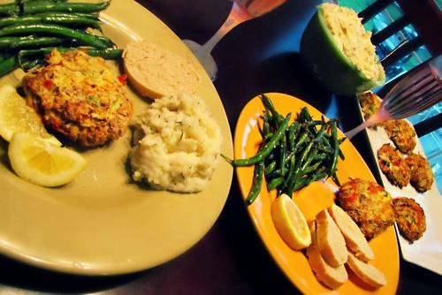 Just made my family yummy crab cakes and roasted garlic mash!