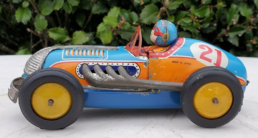Japan Tin Litho Friction Toy BreakApart Hood Crash Race