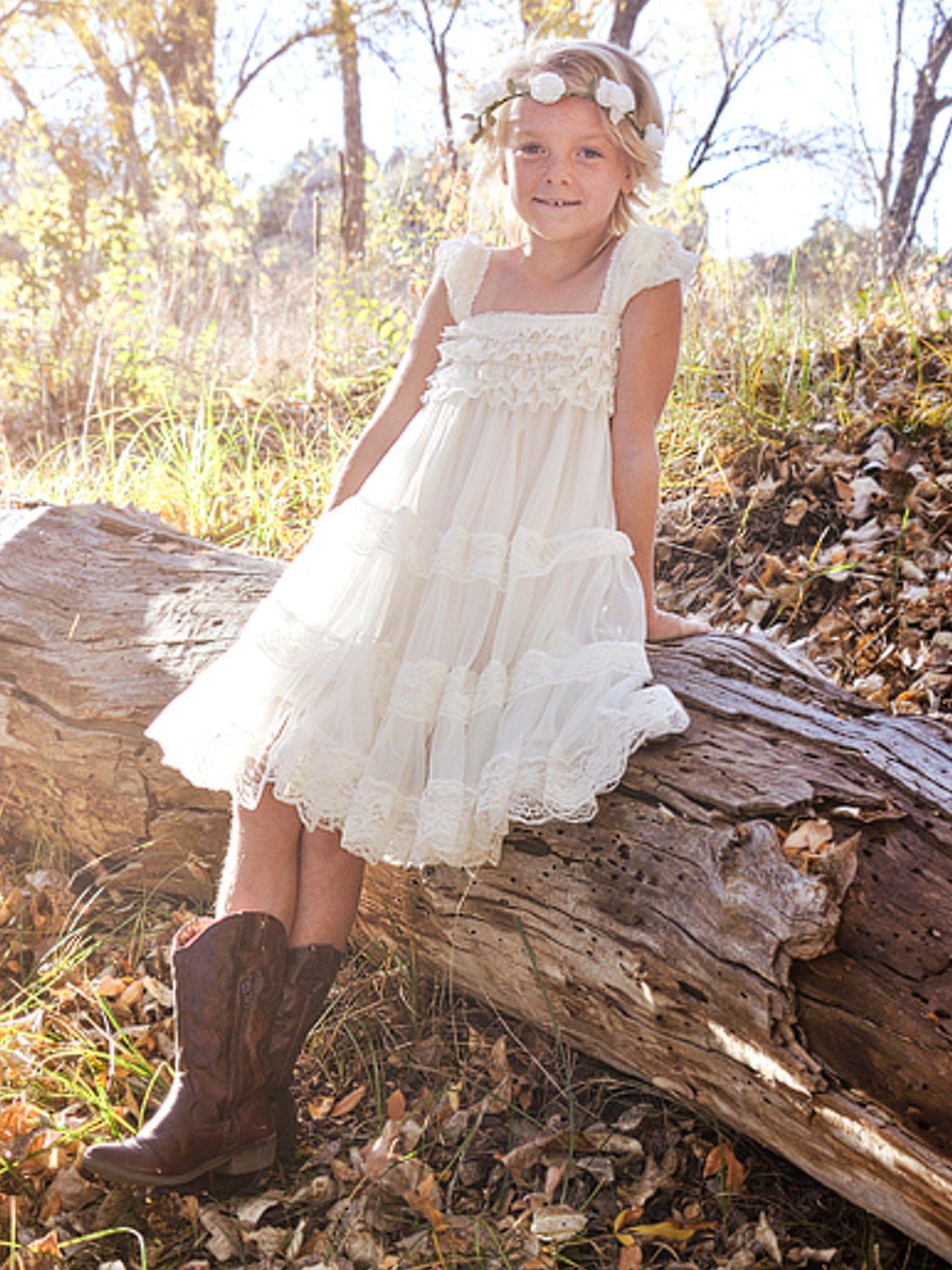 ivory lace flower girl dress  Ivory Lace Vintage Flower Girl Dress