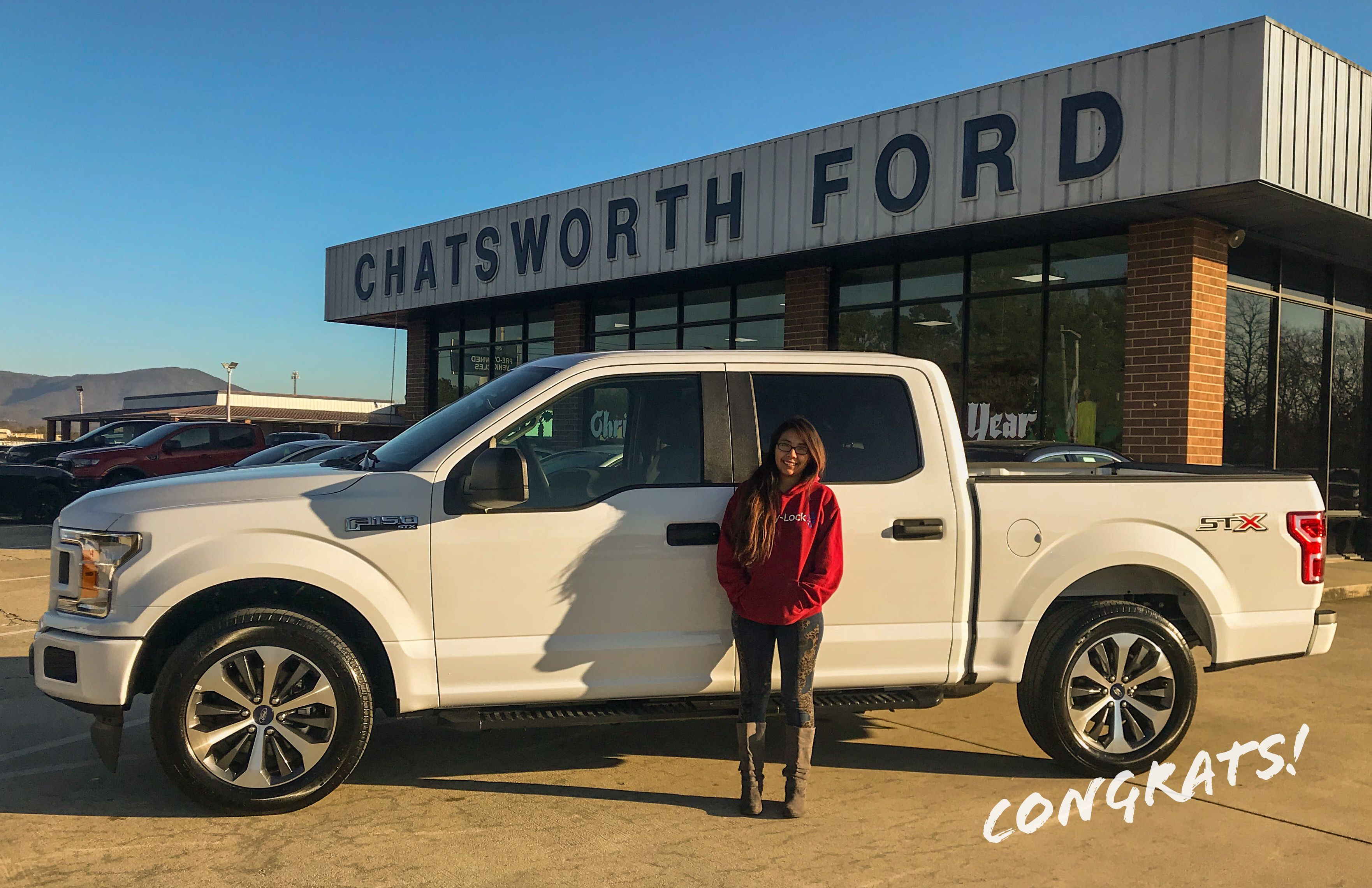 congratulations merari ramos morales of chatsworth ga on your new 2019 f 150 stx sold by jared langham and cory sims w chatsworth ford news new and used cars pinterest