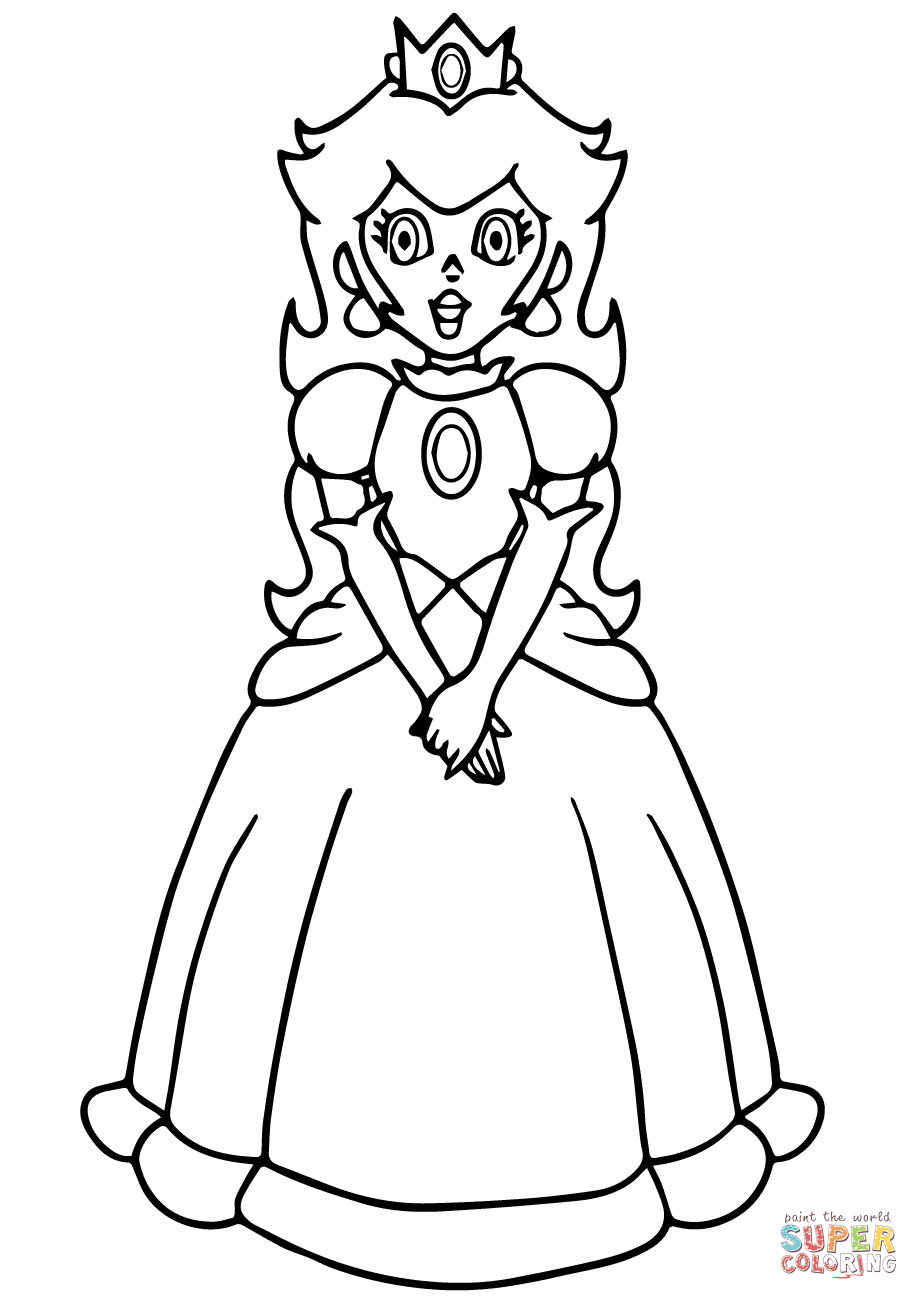 Coloring Super Mario Princess Peach Coloring Page Free Printable