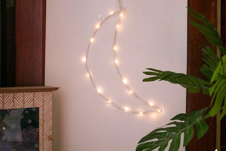 Diy Fairy Light Crescent Moon Urban Outfitters Inspired Shine Crafts Diy Fairy Light Crescent Moon Urban Outfi In 2020 Fairy Lights Decor Fairy Lights Diy Fairy