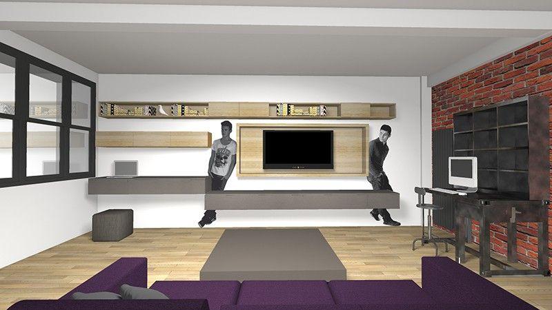 changer habiller un grand mur pour y accueillir la t l et du ran pinterest salons. Black Bedroom Furniture Sets. Home Design Ideas