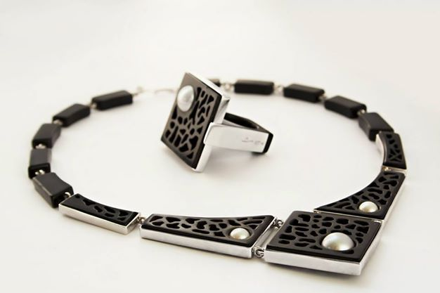 """www.facebook.com/EssenzeGioielli  Ebony and silver handmade ring, necklace and earrings, with freshwater pearls. """"Reef"""" series."""