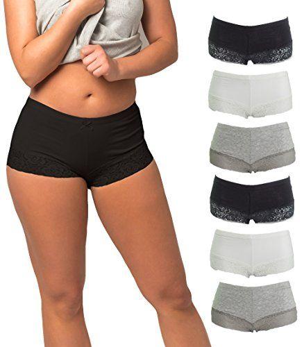 419797a3836 Emprella Cotton Underwear Women 6 Seamless Womens Boy Shorts Lace Panties  Slip Shorts