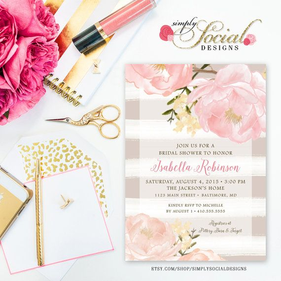 romantic garden peonie flowers taupe by simplysocialdesigns wedding invitation suite bridal shower invitations floral