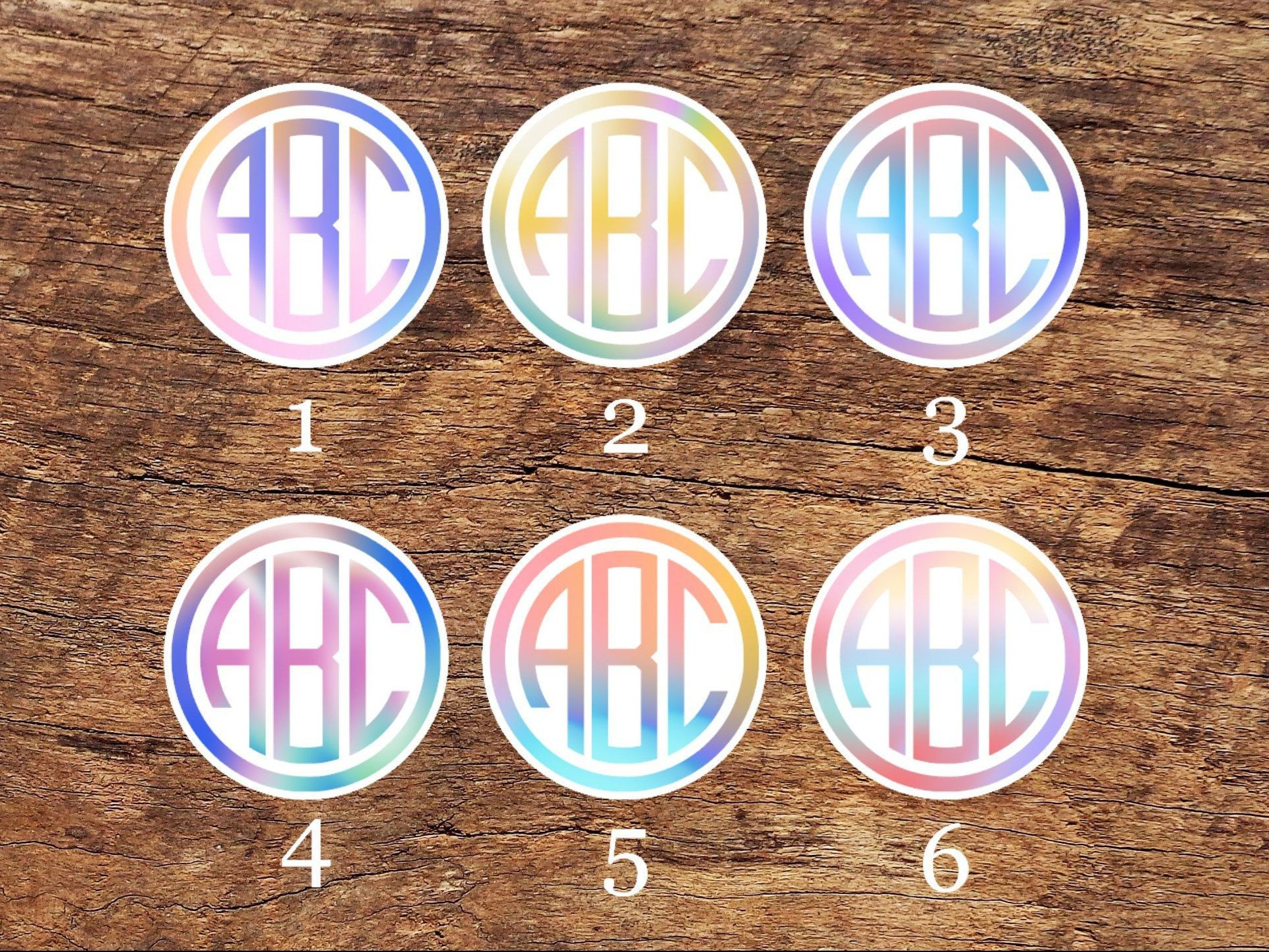 Iridescent Holographic Circle Monogram Peel and Stick Vinyl Sticker