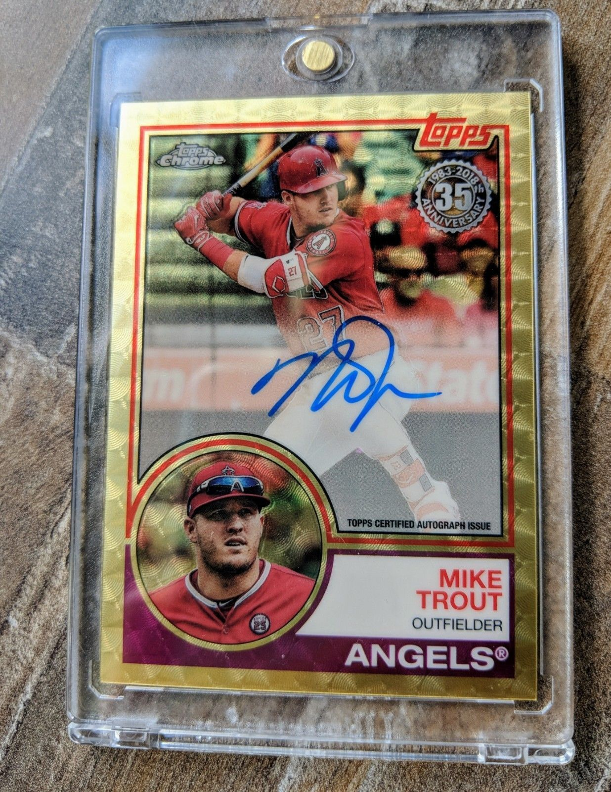 2018 Topps Chrome Mike Trout 35th Anniversary Insert Gold
