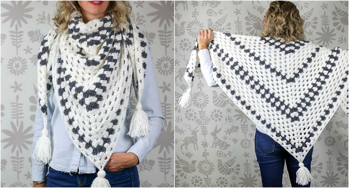The Newsprint granny stitch shawl uses rhythmic stripes to modernize ...