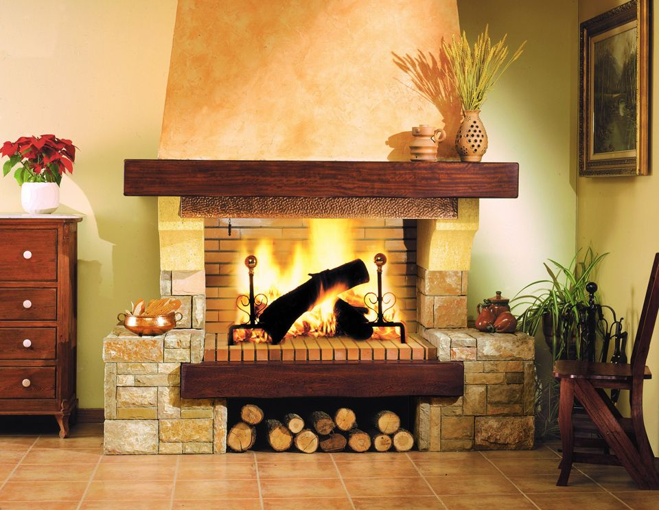 Chimenea de piedra natural y madera chimeneas cl sicas pinterest fire places country - Chimenea con cassette ...