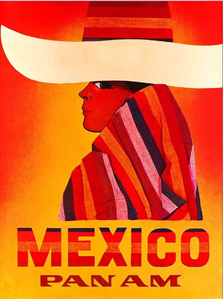 Mexico by Airplane Mexican Sombrero Vintage Travel