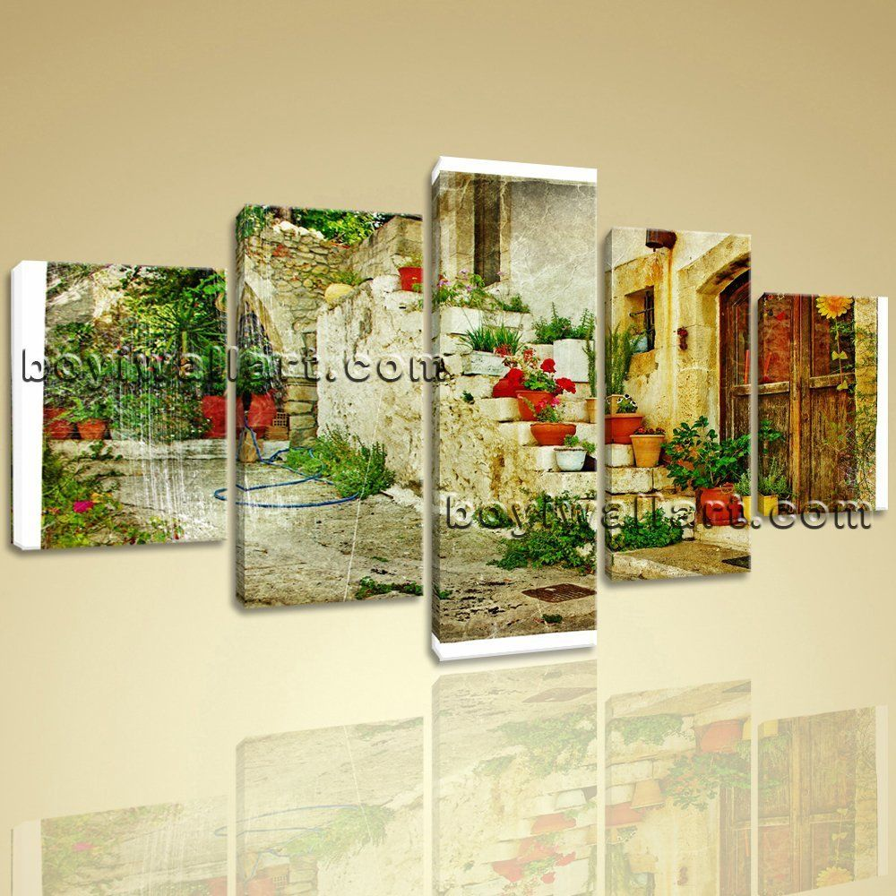 Large greek village abstract retro on canvas wall art home decor