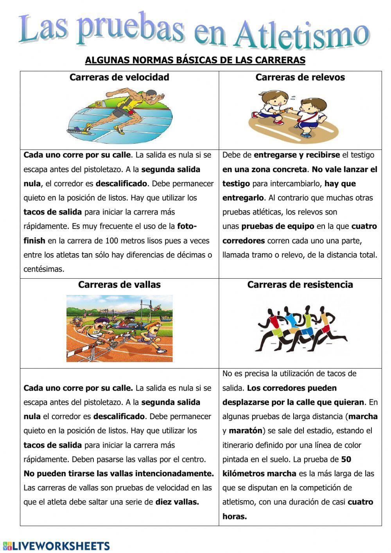 Atletismo Las Carreras Ficha Interactiva Planificacion De Educacion Fisica Clases De Educación Física Trabajo Educacion Fisica